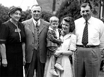 Three generations of the Vecellio family, Sept. 1949: grandparents Anna and Enrico Vecellio on the left, parents Evelyn and Leo Vecellio, Sr., on the right, with Leo Vecellio, Jr., in the middle.