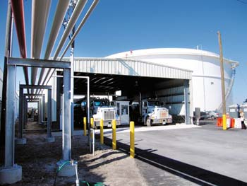 An automated truck-loading rack services tankers at South Florida Materials Corp.'s new diesel terminal, which features two high-capacity storage tanks.