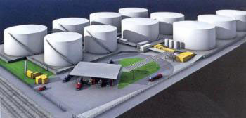 Artist's rendering of 11 petroleum tanks, totaling 1.35 million barrels, scheduled to be operational at Port Everglades by late 2008.